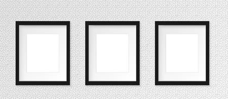 リアルな影を持つ灰色の壁に 3 の 3 黒縦フォト フレームのセットです。ベクトルの図。3 列