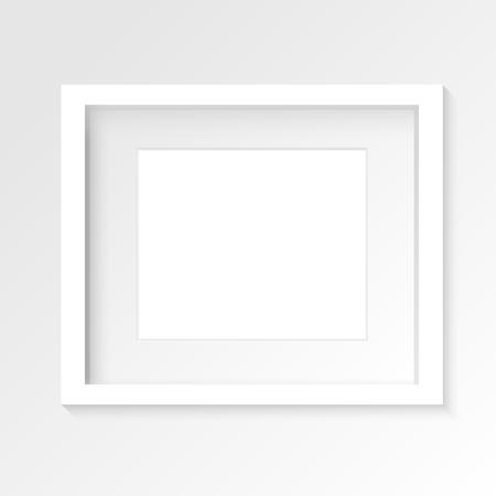 사실적인 그림자와 회색 벽에 흰색 가로 사진 프레임입니다. 벡터 일러스트 레이 션.