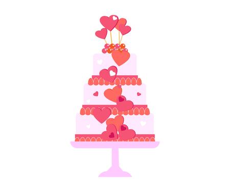 ケーキのセット。ベクトル ケーキ アイコンをデザイン要素。誕生日ケーキは分離の図です。バルーン花火、白い背景の上のウェディング ケーキ