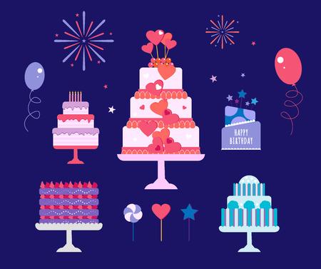 ケーキのセット。ベクトル ケーキ アイコンをデザイン要素。誕生日ケーキは分離の図です。バルーン花火、青の背景にウエディング ケーキ  イラスト・ベクター素材