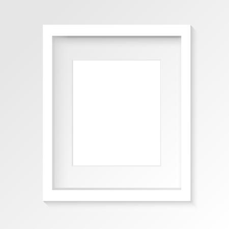 リアルな影を持つ灰色の壁に白い縦フォト フレームです。ベクトルの図。
