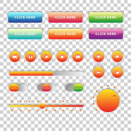 Web UI UX 音楽要素デザイン セット: ボタン、透明な背景のスイッチャー、スライダー、ローダー。バー インターフェイス オーディオ。プレーヤーのボタン。Ui Ux 音楽インターフェイス。Cicrle スタイルのボタン。音楽のコントロール 写真素材 - 64035711