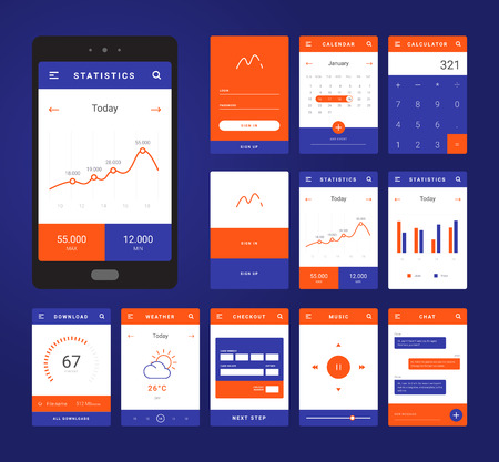 UI, UX and GUI template layout for Mobile Apps. Statistic dashboard, calculator and weather widget, bank card payment for e-commerce. Daily calendar. Blue and orange color ux app. User interface Ilustracja