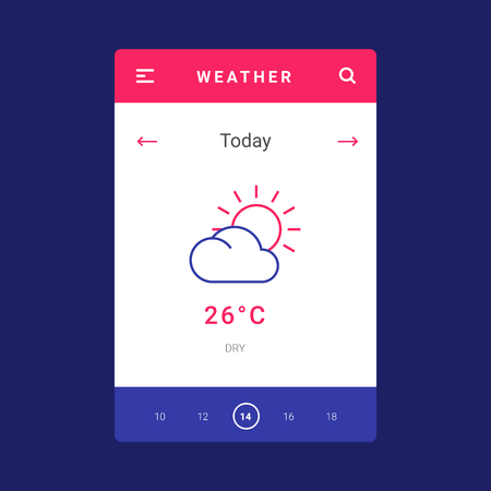 UI, UX and GUI template layout for Mobile Apps. Weather screen. Pink and blue color ux app. User interface. Daily weather controls. Timeline controls for mobile app. Icons and temperature 写真素材