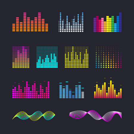 Set colorful ui ux music equalizer sound waves. Audio electronic bar. Music waves interface. Dj vector illustration. Colorful light audio signal.