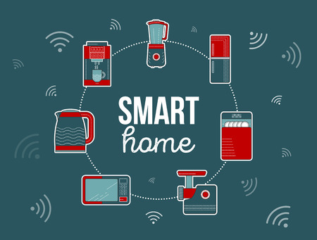 Smart home illustration. Kitchen smart electronics icon. Winter home appliances, household consumer electronics. Smart home banner