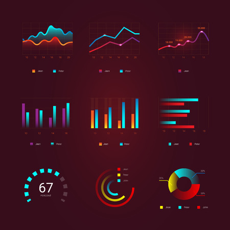 Flat graph and chart set. Colorful modern bar and pie infographic concept. Business templates for presentation results and statistics. Abstract technology diagram