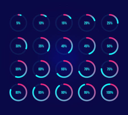 Colorful pie charts. Ux percent download, dashboard for app, web. Performance analysis percent. Set of bright blue percentage diagrams. Modern infographic elements. 10 percent graphs, dark background Ilustracja