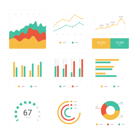 Flat graph and chart set. Colorful modern bar and pie infographic concept. Business templates for presentation results and statistics. Abstract technology diagram. App mobile dashboard screen