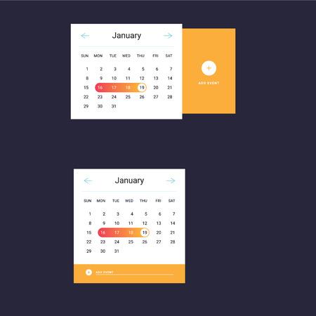 Calendar UI UX element. Calendar widget event. Illustration. Set of Calendar daily template in flat style. Orange color.