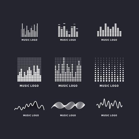 Set colorful ui ux music equalizer sound waves. Audio electronic bar. Music waves logo. Dj  illustration. Black and white light audio signal.