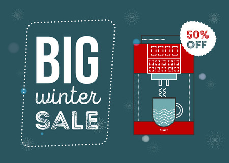 Big winter sale poster. Kitchen electronics sale 50 percent off. Appliances sale. Coffee machine. Banner for web of print.  イラスト・ベクター素材