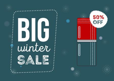 大きな冬販売ポスター。キッチン家電セール 50% オフ。家電製品の販売。冷蔵庫バナー印刷の web。