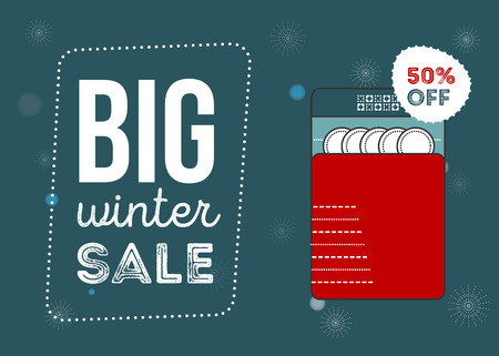 Big winter sale poster. Kitchen electronics sale 50 percent off. Appliances sale. Dishwasher Banner for web of print.