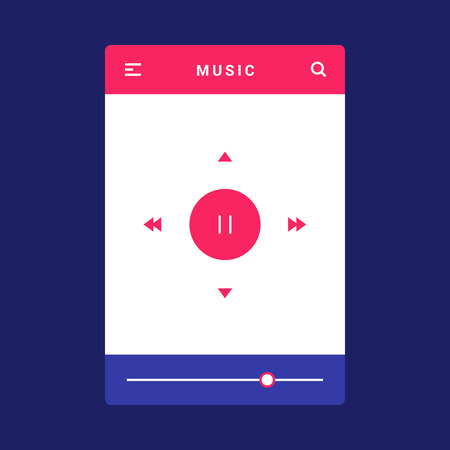 UI, UX and GUI template layout for Mobile Apps. Music screen. Pink and blue color ux app. User interface. Audio controls. Volume controls for mobile app. Music bar  イラスト・ベクター素材