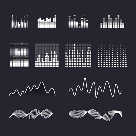 Set colorful ui ux music equalizer sound waves. Audio electronic bar. Ilustracja
