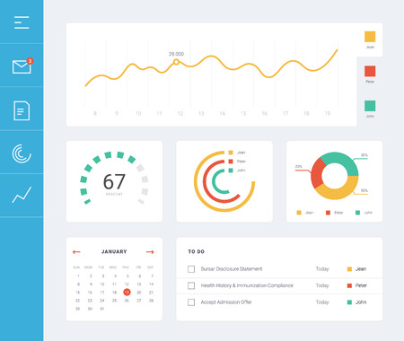 Flat dashboard, set of ui web infographic elements. UI, UX and GUI template layout for Statistic dashboard, calculator and to do widget. Daily calendar. Task manager ux app. User interface Ilustracja