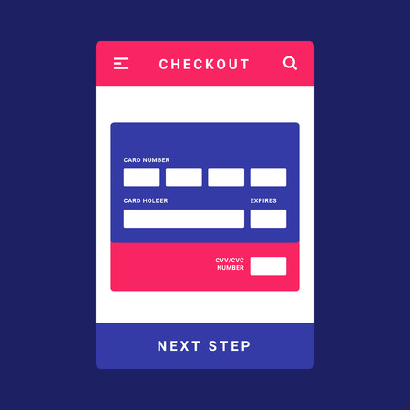 UI, UX and GUI template layout for Mobile Apps. Mobile bank card payment for e-commerce. Pink and blue color ux app. User interface. Checkout, card number and card holder name step.  イラスト・ベクター素材