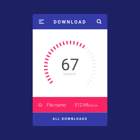 UI, UX and GUI template layout for Mobile Apps. Download screen. Statistic dashboard. Infographic element. Circle percent diagram. Pink and blue color ux app. User interface. Ilustracja