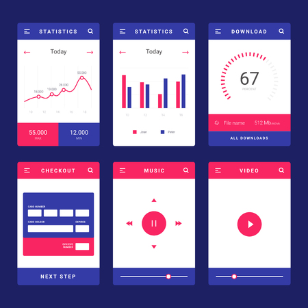 UI, UX and GUI template layout for Mobile Apps. Statistic dashboard, calculator and weather widget, bank card payment for e-commerce. Daily calendar. Blue and orange color ux app. User interface  イラスト・ベクター素材