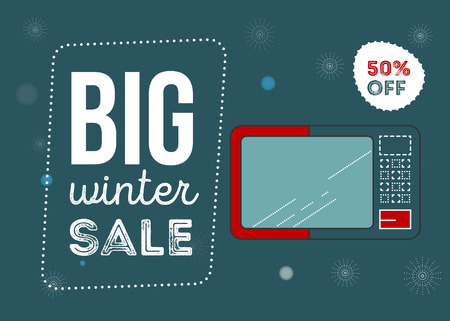 Big winter sale poster. Kitchen electronics sale 50 percent off. Appliances sale. microwave Banner for web of print. Flyer for market
