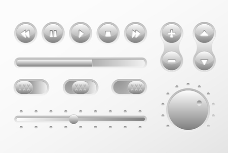 Gray Web UI UX Music Elements Design set: Buttons, Switchers, Slider, loader on light background. Audio bar interface. Player buttons. Ui Ux music interface. Cicrle style buttons. Music controls  イラスト・ベクター素材