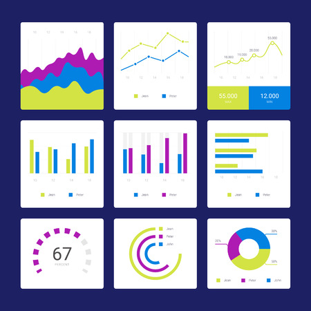 Flat Graph And Chart Vector Set. Colorful Modern Bar And Pie ...