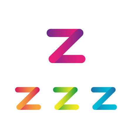 Letter Z unusual bold rounded font. Gradient