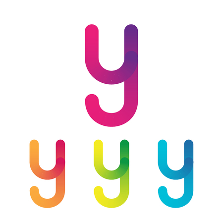Letter Y vector unusual bold rounded font. Gradient