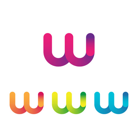 Letter W unusual bold rounded font. Gradient  イラスト・ベクター素材