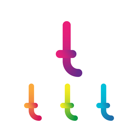 Letter T unusual bold rounded font. Gradient  イラスト・ベクター素材