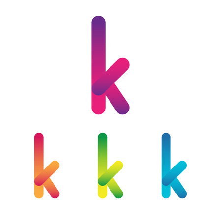 Letter K unusual bold rounded font. Gradient  イラスト・ベクター素材