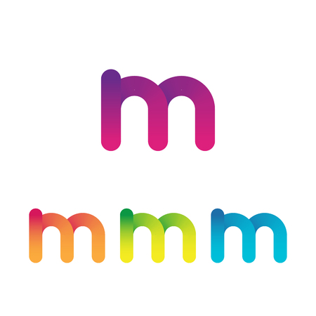 Letter M unusual bold rounded font. Gradient