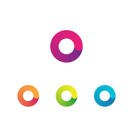 Letter O unusual bold rounded font. Gradient