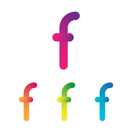 Letter F unusual bold rounded font. Gradient