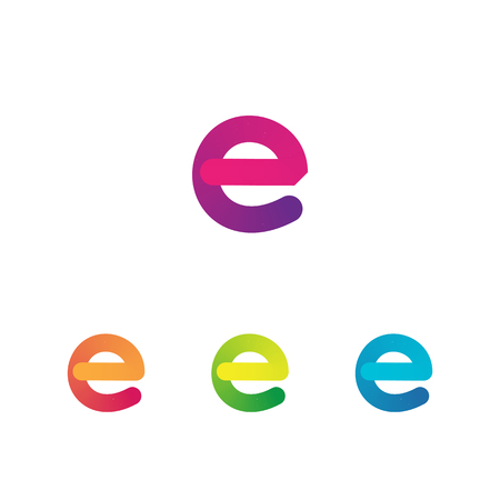 Letter E unusual bold rounded font. Gradient