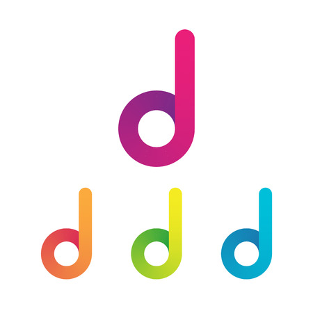 Letter D unusual bold rounded font. Gradient