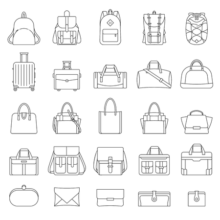 Outline set of women and men bags. Ilustracja