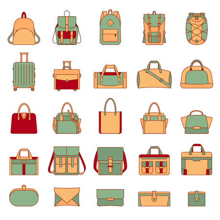 Colorful set of womens and mens bags. Many types of casual handbag. Isolated illustrations on white background. Retro style. Travel luggage, sports bags, clutches. Filled outline icons