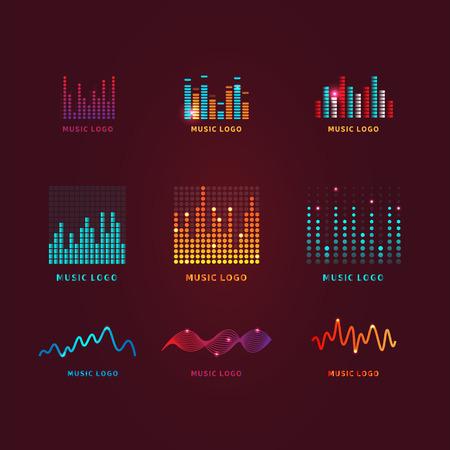 カラフルな ui ux 音楽イコライザーの音の波を設定します。オーディオ電子バー。音楽の波のロゴ。Dj のベクトル図です。明るい光沢のある光のオーディオ信号。 写真素材 - 72026201