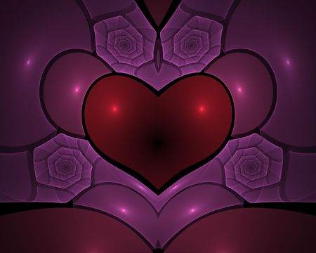 Digital generated heart shape with roses. Made with fractals and flames photo
