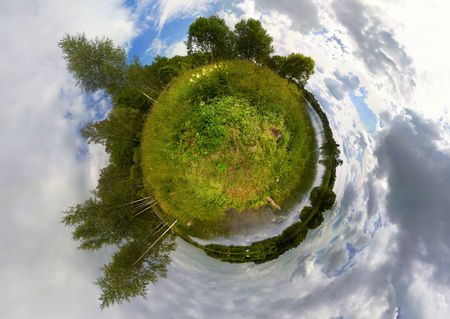 Environment protection concept and life metaphoric image. Sphere view of meadow, river, and forest Stock Photo - 2846980