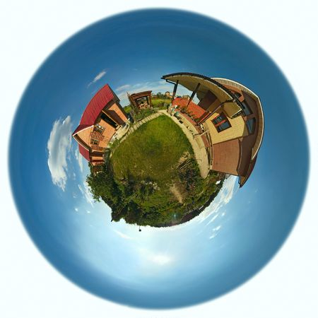 housing problems: Planet with  house and garden