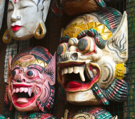 Wooden painted balinese masks photo