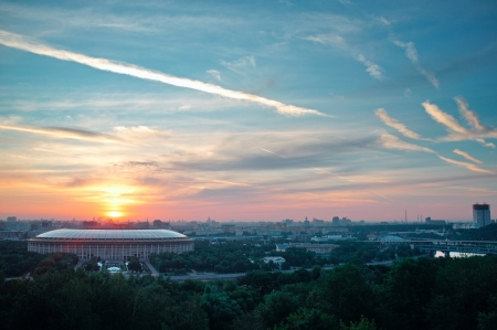 atmosphere construction: Summer sunrise in Moscow  Russia