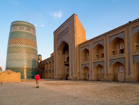 Kalta-Minor minaret in Khiva town in Uzbekistan