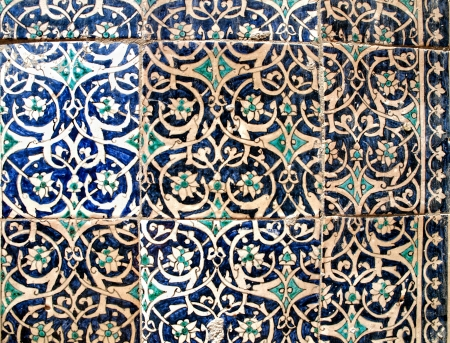 majolica: Blue ceramic decoration at wall in Khiva. Uzbekistan Stock Photo
