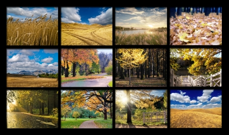 Set of autumn landscapes on a black background Stock Photo - 15208985