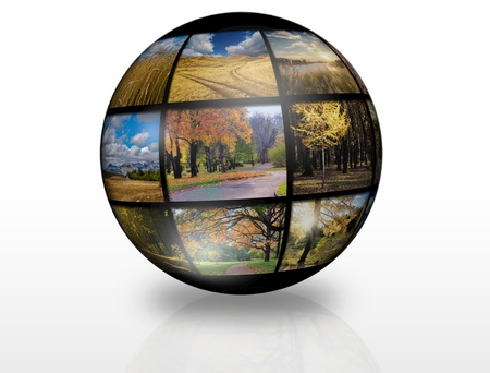 Globe with autumn landscapes photos  Worldwide concept Stock Photo - 15208954