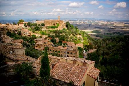 montalcino: Montalcino town from above  Tuscany, Italy